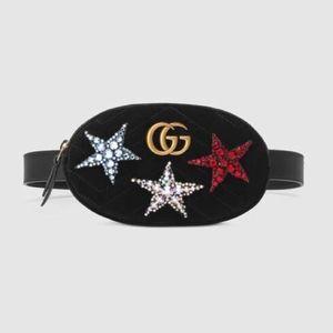Gucci Marmont Stars Small Velvet Belt Bag Size 75